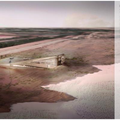 Grafiki projektu Flamingo Visitor Center autorstwa Alicji Nowak, Yaroslava Panasevycha i Macieja Rodaka,